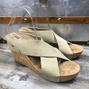 Lucky Brand Cork Wedge Slide On Sandals Size 11